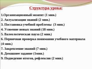 Структура урока: 1.Организационный момент (1 мин.) 2. Актуализация знаний (2