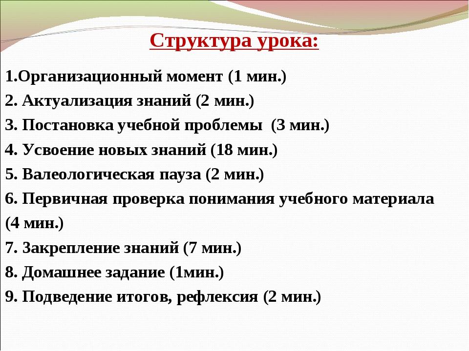 Структура урока: 1.Организационный момент (1 мин.) 2. Актуализация знаний (2...