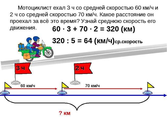 Мотоциклист ехал 3 ч со средней скоростью 60 км/ч и 2 ч со средней скоростью...