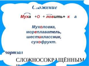 Сложение Муха +о + ловить+ к а Мухоловка, мореплаватель, шестиклассник, сухоф