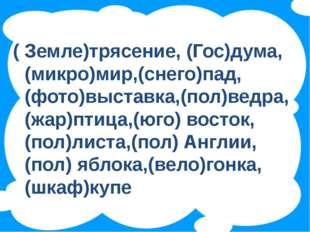 ( Земле)трясение, (Гос)дума, (микро)мир,(снего)пад, (фото)выставка,(пол)ведр