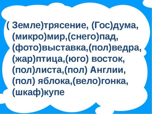 ( Земле)трясение, (Гос)дума, (микро)мир,(снего)пад, (фото)выставка,(пол)ведр...
