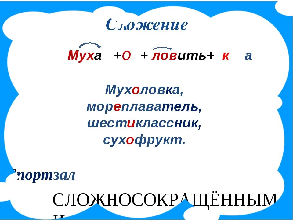 Сложение Муха +о + ловить+ к а Мухоловка, мореплаватель, шестиклассник, сухоф...