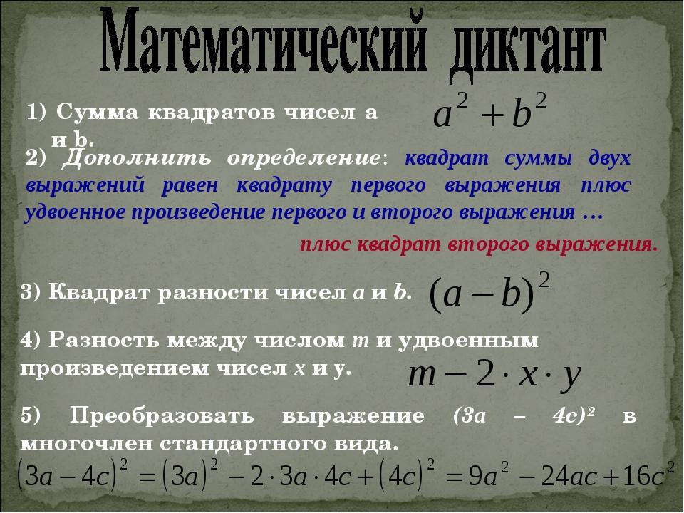 1) Сумма квадратов чисел а и b. 2) Дополнить определение: квадрат суммы двух...