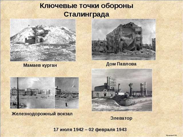 17 июля 1942 – 02 февраля 1943 Ключевые точки обороны Сталинграда Мамаев кург...