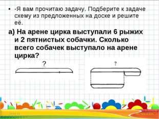 -Я вам прочитаю задачу. Подберите к задаче схему из предложенных на доске и р