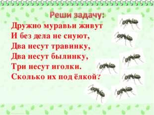 Дружно муравьи живут И без дела не снуют, Два несут травинку, Два несут былин