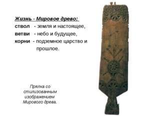 Прялка со стилизованным изображением Мирового древа. Жизнь - Мировое древо: с