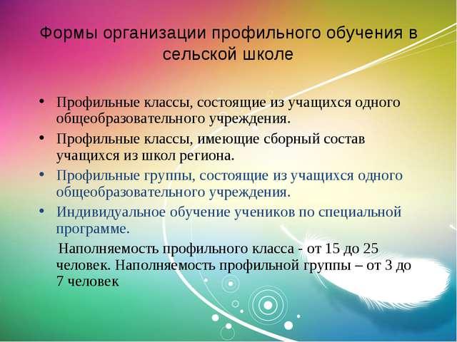 Формы организации профильного обучения в сельской школе Профильные классы, со...