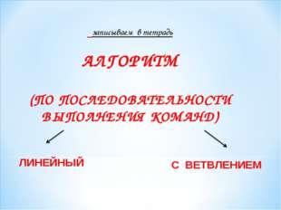 записываем в тетрадь АЛГОРИТМ (ПО ПОСЛЕДОВАТЕЛЬНОСТИ ВЫПОЛНЕНИЯ КОМАНД) ЛИНЕ