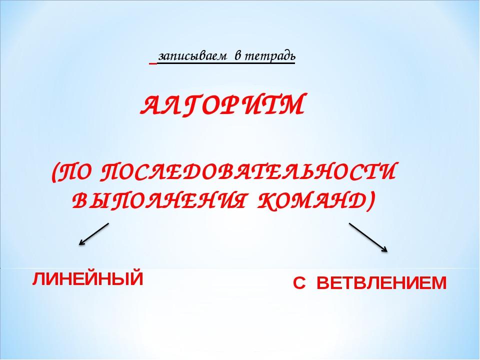 записываем в тетрадь АЛГОРИТМ (ПО ПОСЛЕДОВАТЕЛЬНОСТИ ВЫПОЛНЕНИЯ КОМАНД) ЛИНЕ...