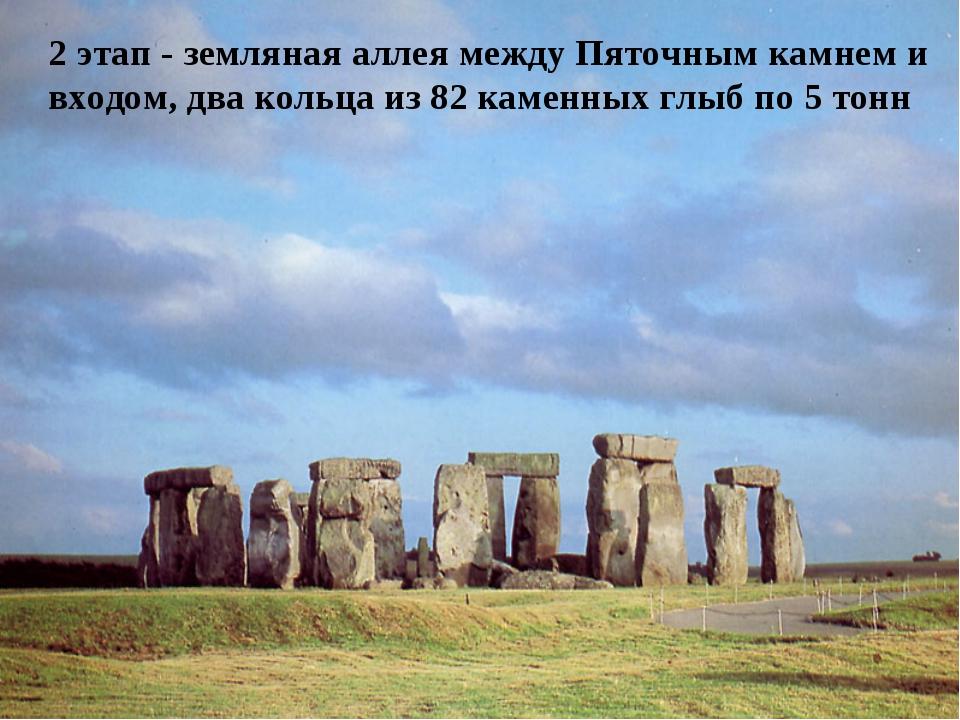 2 этап - земляная аллея между Пяточным камнем и входом, два кольца из 82 кам...