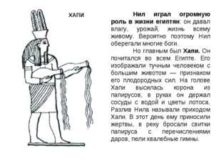 Нил играл огромную роль в жизни египтян: он давал влагу, урожай, жизнь всему