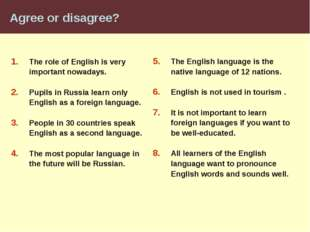 Agree or disagree? The role of English is very important nowadays. Pupils in