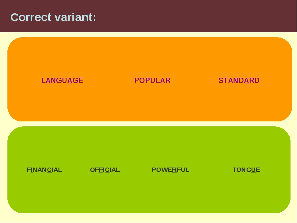 Correct variant: LANGUAGE STANDARD POPULAR FINANCIAL OFFICIAL POWERFUL TONGUE