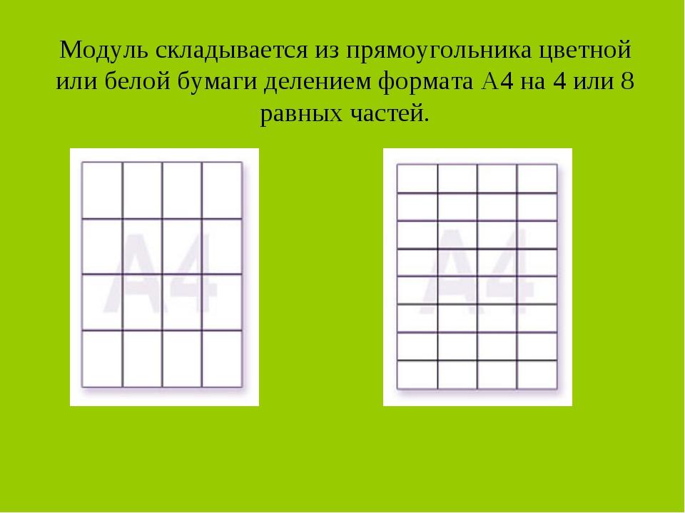 Модуль складывается из прямоугольника цветной или белой бумаги делением форма...
