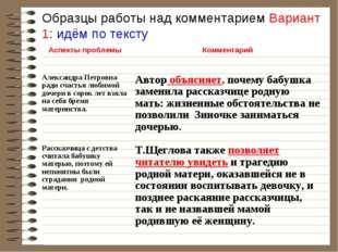 Образцы работы над комментарием Вариант 1: идём по тексту Аспекты проблемыК