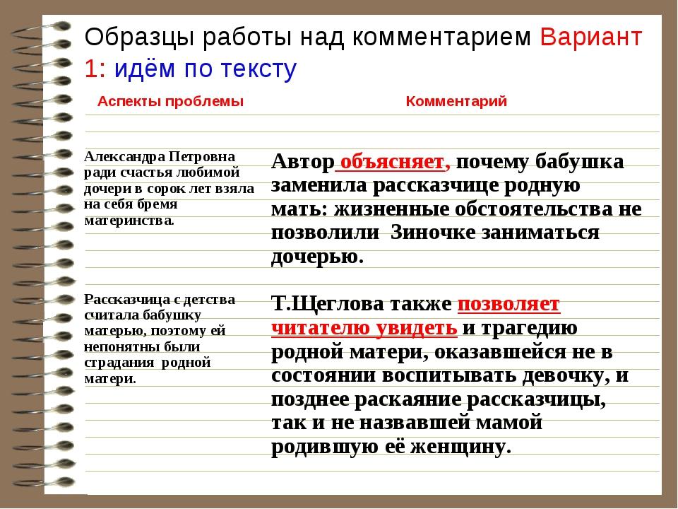 Образцы работы над комментарием Вариант 1: идём по тексту Аспекты проблемыК...