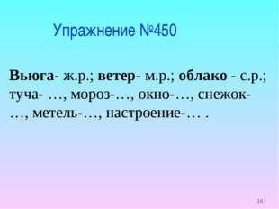 * Упражнение №450 Вьюга- ж.р.; ветер- м.р.; облако - с.р.; туча- …, мороз-…,