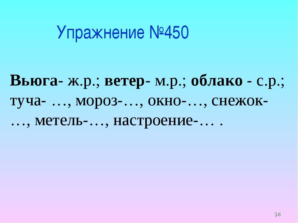 * Упражнение №450 Вьюга- ж.р.; ветер- м.р.; облако - с.р.; туча- …, мороз-…,...