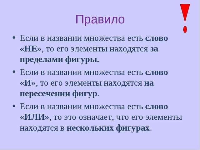 Правило Если в названии множества есть слово «НЕ», то его элементы находятся...