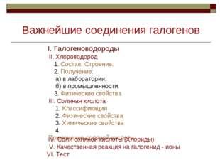 II. Хлороводород 1. Состав. Строение. 2. Получение: а) в лаборатории; б) в пр