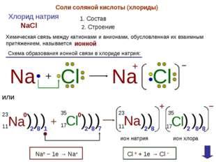 Соли соляной кислоты (хлориды) Хлорид натрия 1. Состав NaCl 2. Строение Химич