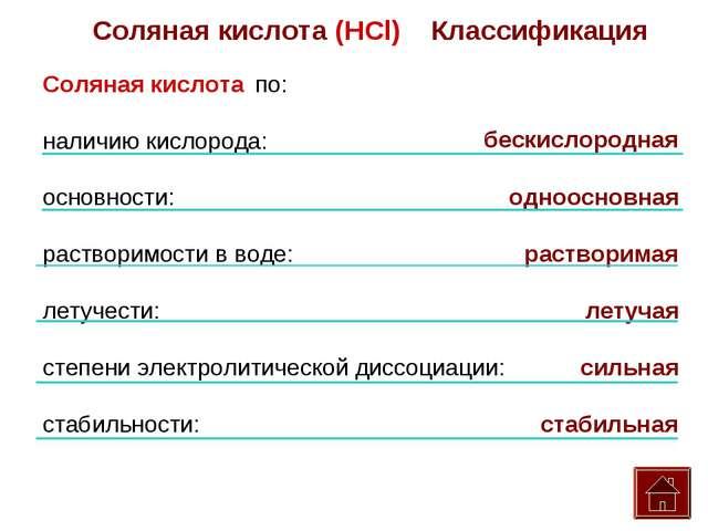 Соляная кислота (HCl) Классификация Соляная кислота по: наличию кислорода: ос...