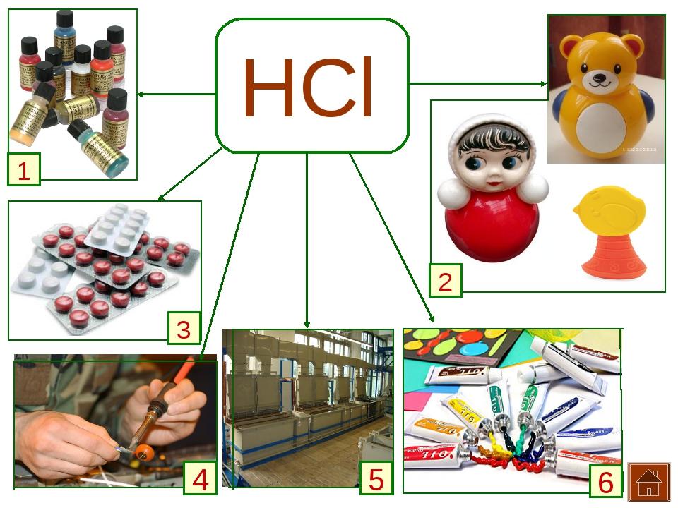 HCl 1 3 2 4 5 6