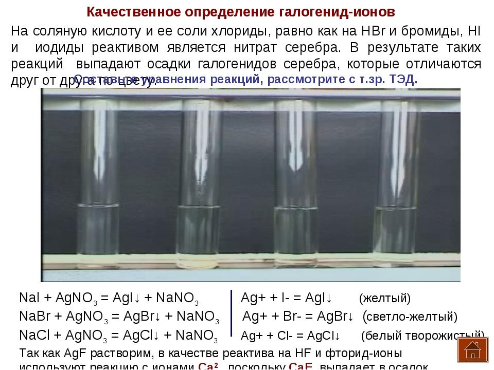 Качественное определение галогенид-ионов На соляную кислоту и ее соли хлориды...