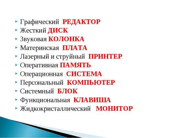 Графический РЕДАКТОР Жесткий ДИСК Звуковая КОЛОНКА Материнская ПЛАТА Лазерный...