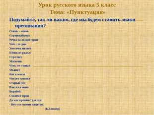 Урок русского языка 5 класс Тема: «Пунктуация» Подумайте, так ли важно, где м