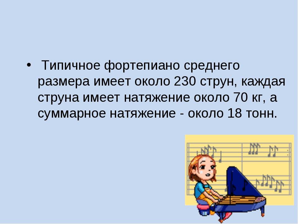 Типичное фортепиано среднего размера имеет около 230 струн, каждая струна им...