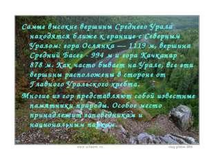 Самые высокие вершины Среднего Урала находятся ближе к границе с Северным Ура