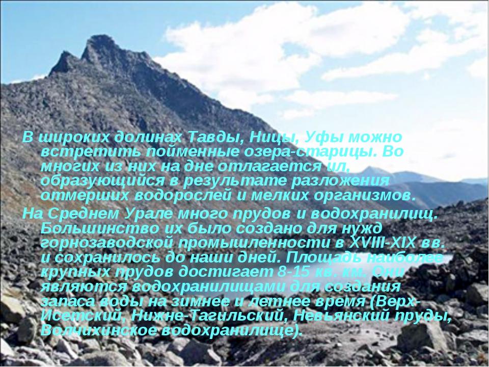 В широких долинах Тавды, Ницы, Уфы можно встретить пойменные озера-старицы. В...