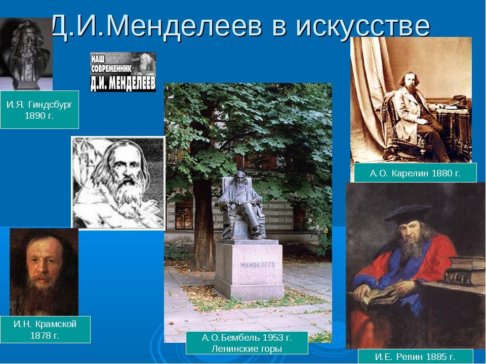 Д.И.Менделеев в искусстве И.Е. Репин 1885 г. И.Н. Крамской 1878 г. И.Я. Гиндс...