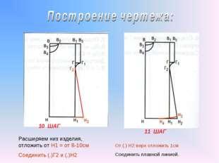 10 ШАГ 11 ШАГ Расширяем низ изделия, отложить от Н1 = от 8-10см Соединить (.)
