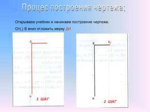 1 ШАГ 2 ШАГ Открываем учебник и начинаем построение чертежа: От(.) В вниз отл