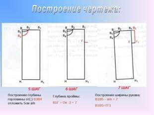 5 ШАГ 6 ШАГ 7 ШАГ Построение глубины горловины от(.) В3В4 отложить 5см в/п Гл