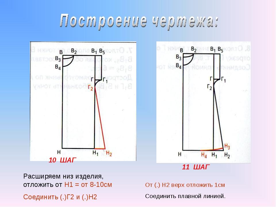 10 ШАГ 11 ШАГ Расширяем низ изделия, отложить от Н1 = от 8-10см Соединить (.)...