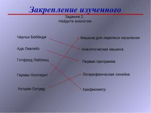 Закрепление изученного Задание 2. Найдите аналогию Чарльз Беббидж Ада Лавлейс