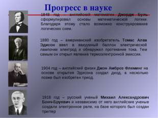 Прогресс в науке 1848 год – английский математик Джордж Буль сформулировал ос