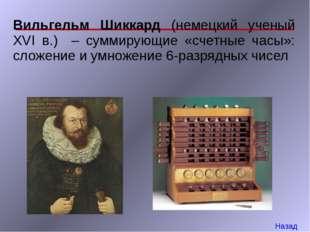 Вильгельм Шиккард (немецкий ученый XVI в.) – суммирующие «счетные часы»: слож