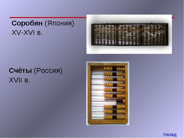 Соробян (Япония) XV-XVI в. Счёты (Россия) XVII в. Назад