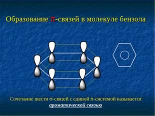 Образование -связей в молекуле бензола Сочетание шести -связей с единой -с