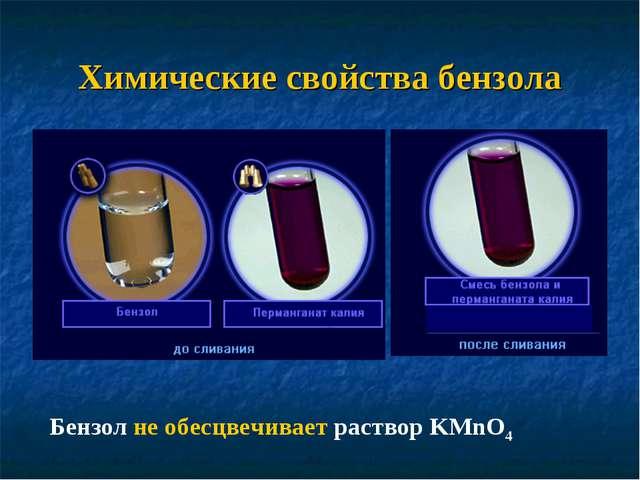 Химические cвойства бензола Бензол не обесцвечивает раствор KMnO4