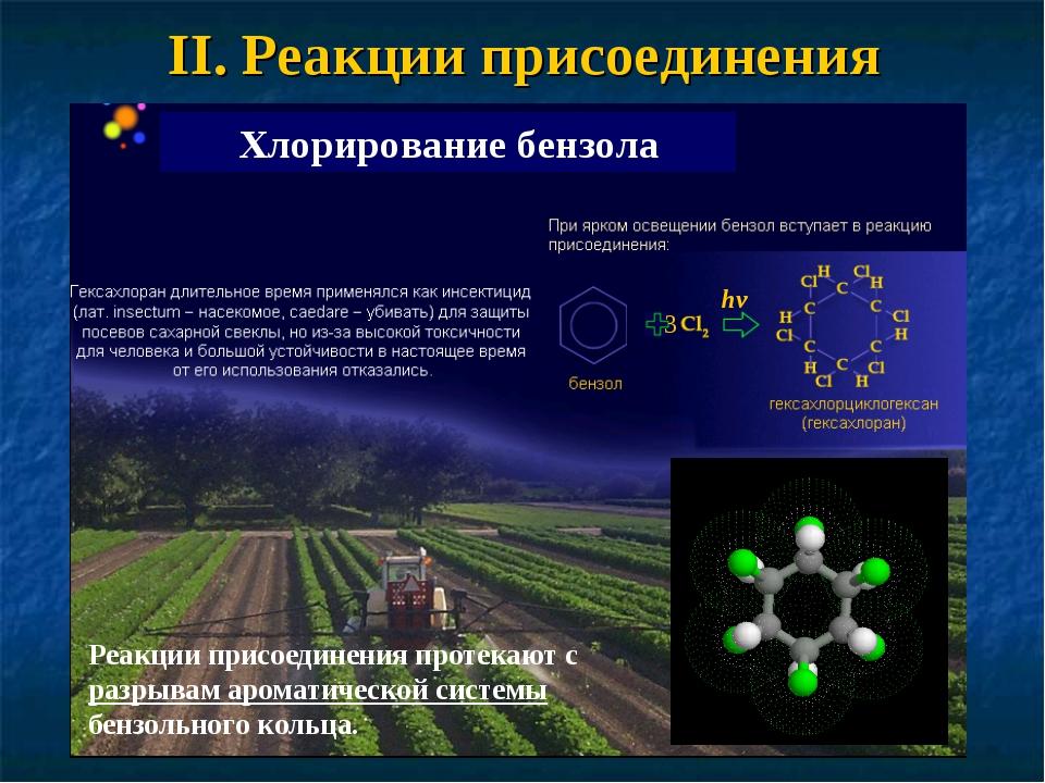 II. Реакции присоединения Хлорирование бензола Реакции присоединения протекаю...