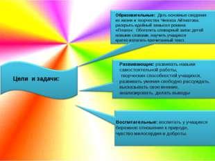 Цели и задачи: Образовательные: Дать основные сведения из жизни и творчества