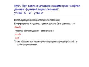 №6*. При каких значениях параметров графики данных функций параллельны? у=3ах