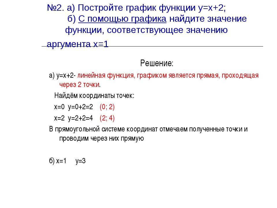 №2. а) Постройте график функции у=х+2; б) С помощью графика найдите значение...